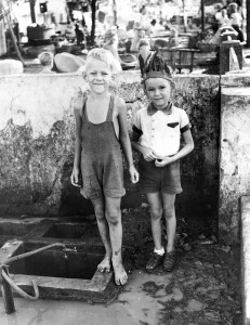 The Author, age 7 (barefoot) and friend